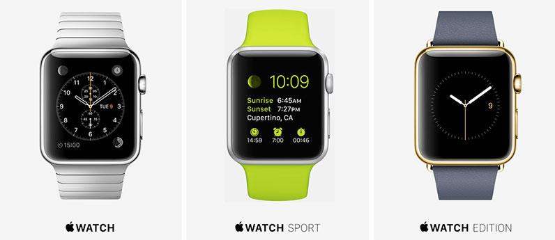 Diferentes versiones del Apple Watch